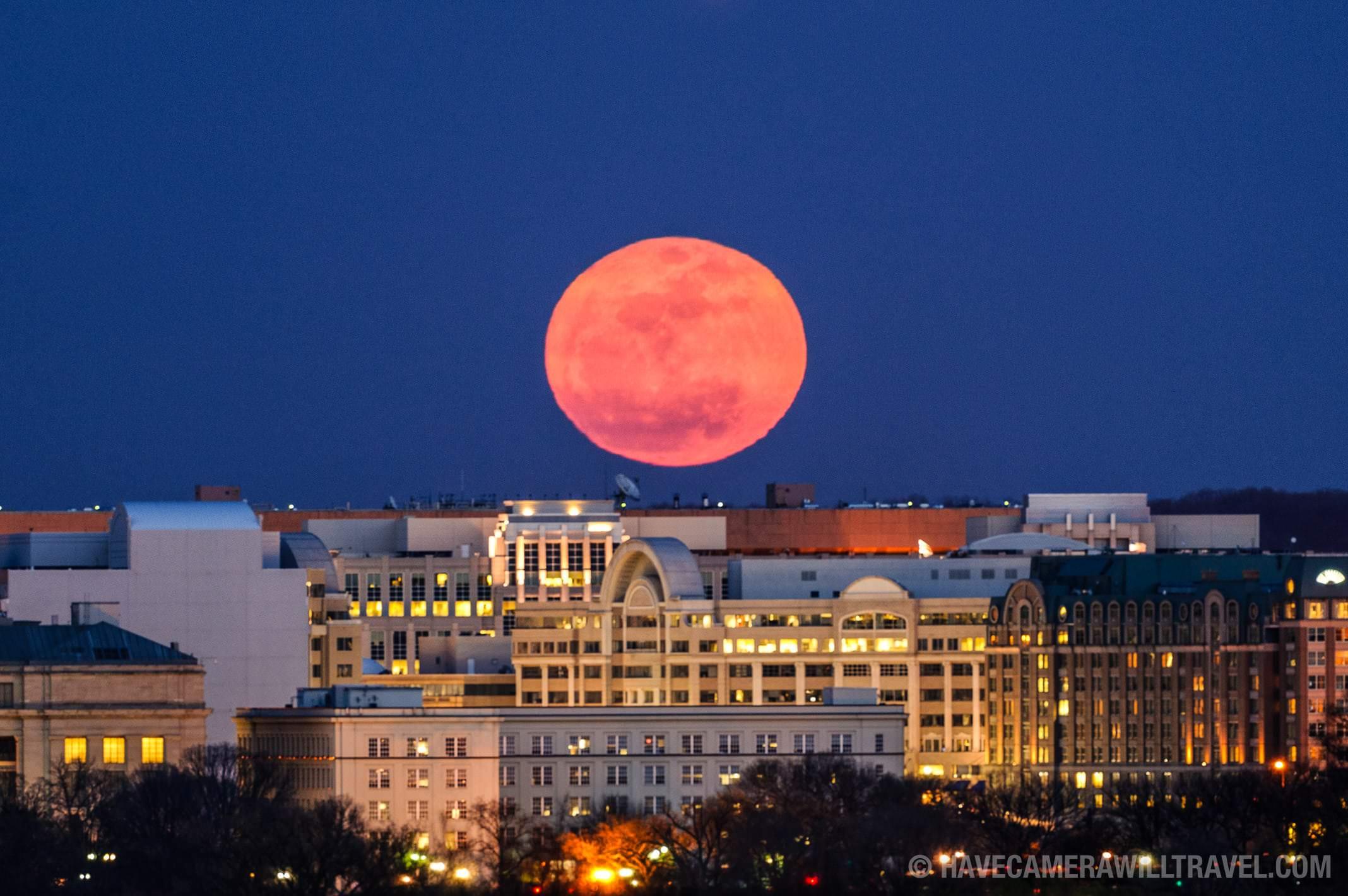 Supermoon Rising Over Washington DC
