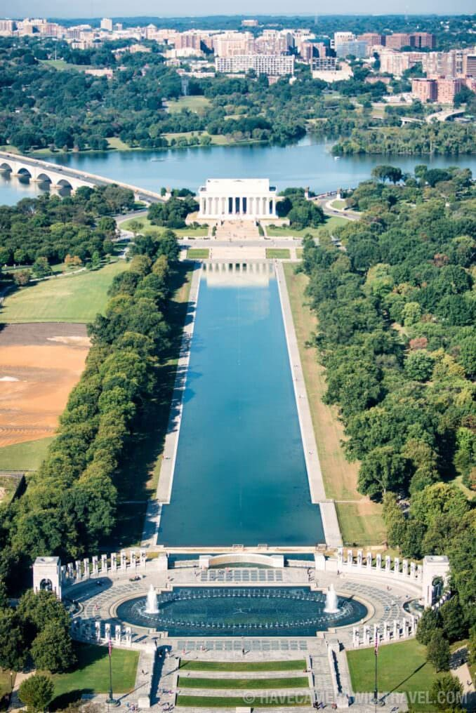 Aerial View of Reflecting Pool and Lincoln Memorial