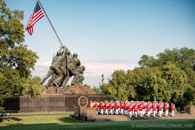 Commandant's Own at the Sunset Parade at the Iwo Jima Memorial