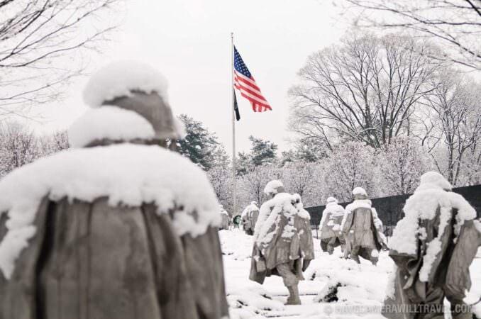 Korean War Veterans Memorial in the snow (Photo)