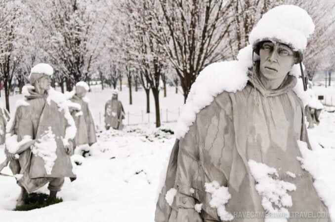 Korean War Veterans Memorial in Washingotn DC Covered in Snow