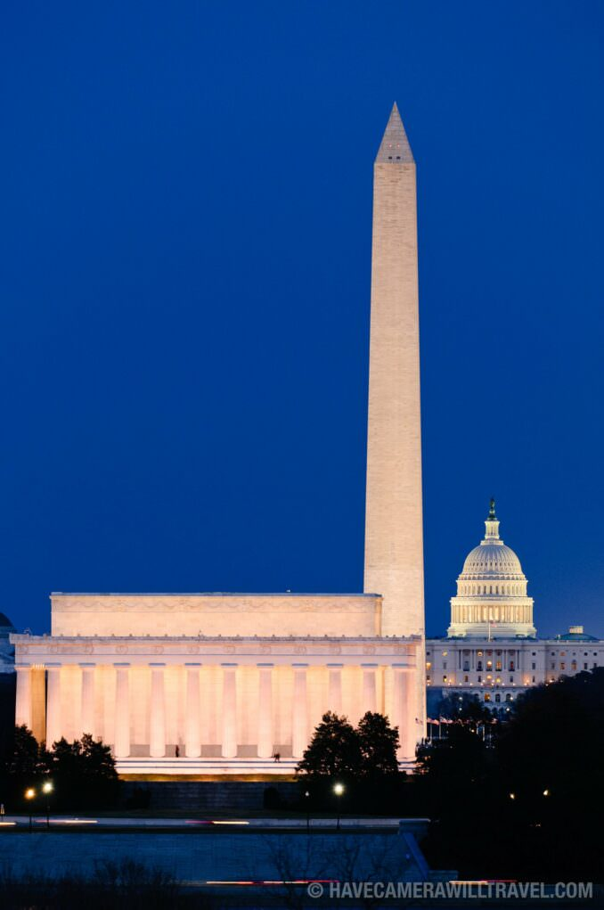 Lincoln Memorial, Washington Monument, & US Capitol Building at dusk