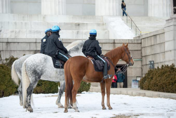 Mounted US Park Police at the Lincoln Memorial