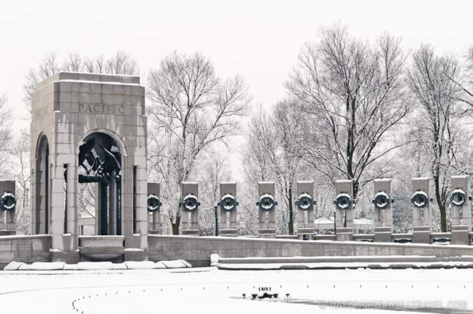 National World War Two Memorial in the Snow
