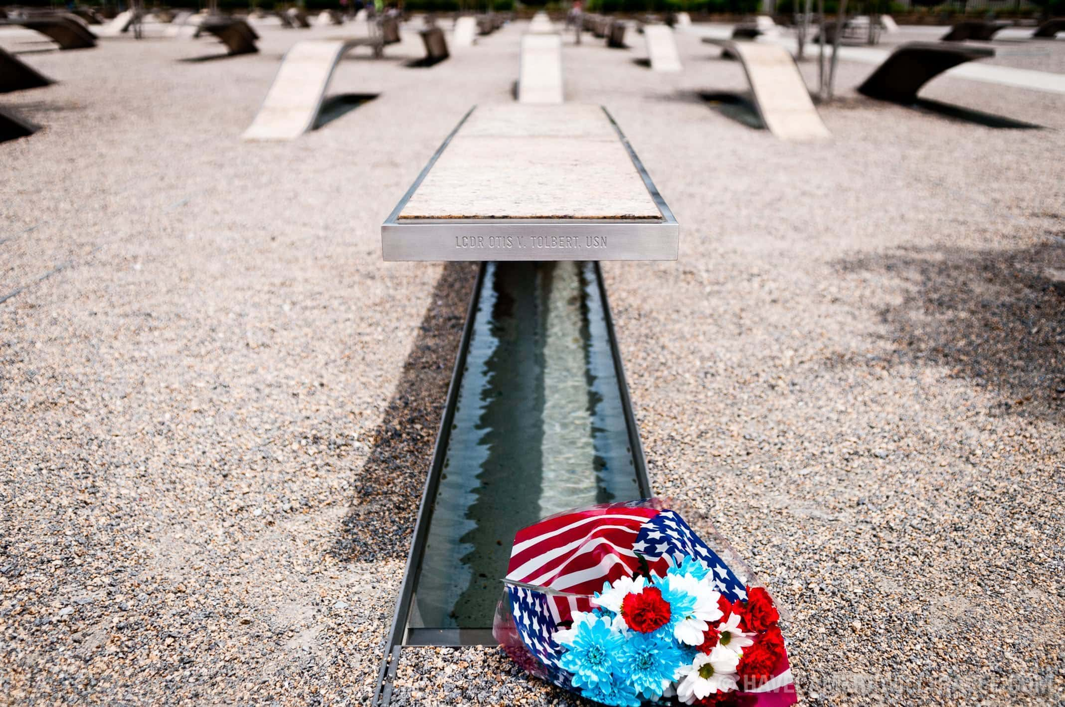 Pentagon Memorial with flowers