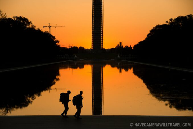Reflecting Pool at Sunrise with Soldiers Training