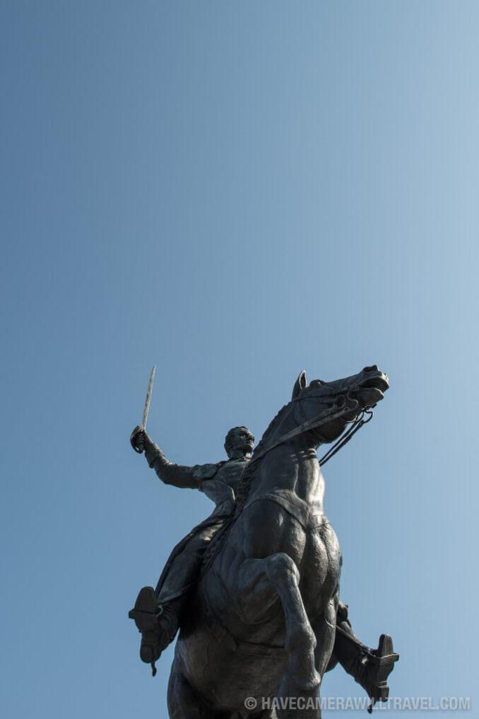 Simon Bolivar Equestrian Statue in Washington DC with Blue Sky