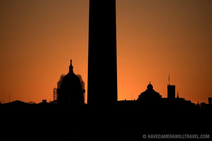 Sunrise Silhouette of US Capitol and Washington Monument