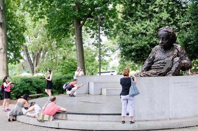 Tourists at the Einstein Memorial at National Academy of Sciences