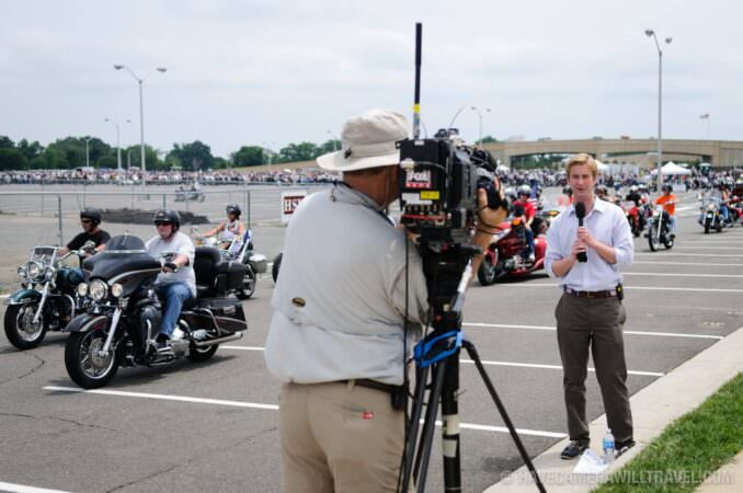 TV Reporters at Rolling Thunder Motorcycle Rally