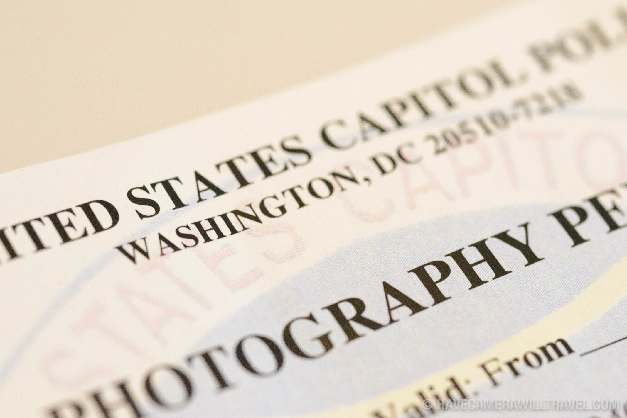 US Capitol Police Photography Permit