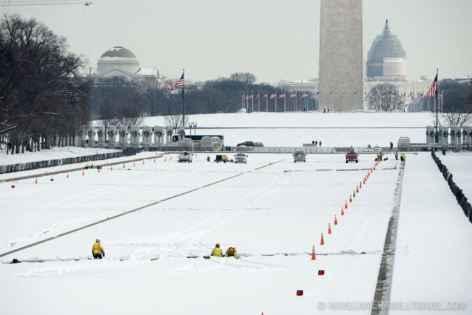 Washington DC's National Mall in the Snow