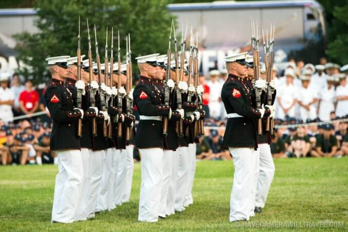 Silent Drill Platoon at the Sunset Parade at the Iwo Jima Memorial